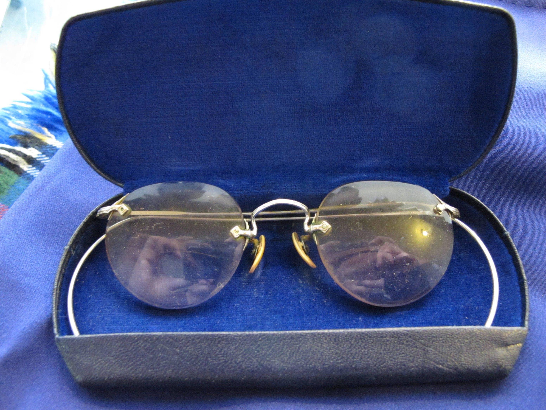 3dc0e1df48 1920s-30s  Acid Tite  Art Deco Rose-Tinted Bifocal Glasses in 12k