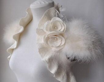 Wedding Bolero Shrug Jacket Felt Marabou Bridal Felted Cap Sleeves Roses Brooch CLEARANCE, SWAN PRINCESS