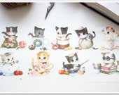 Offset Printing Iron On Transfer - Cute Lovely Kawaii Afternoon Tea Dots Floral Teacup Baby Cat Kitty Collection(1 Sheet, 9 Cat Patterns)