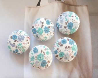 Shabby Chic French Style Mint Blue Purple Little Wild Flowers Floral Garden-Handmade Fabric Covered Buttons(0.87 Inches, 5PCS)