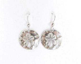 Sterling sand dollar earrings, beach jewelry, ocean gift, cruise accessory, large silver earrings, SCUBA earrings, swimmer gift