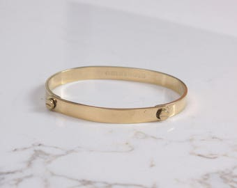 Vintage 70s Gold Screw Bracelet / 1970s Aldo Cipullo Charles Revson GP Friendship Love Bangle
