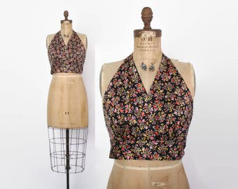 Vintage 70s Halter Top / 1970s Silky Black Floral Print Boho Backless Crop Top