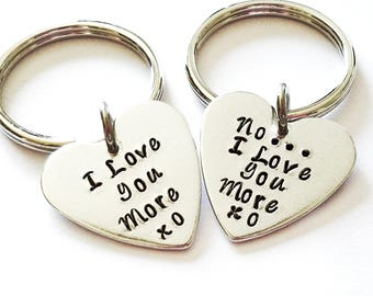 Couples Key Chains - I love you More, Key Chain, Couples Gift, Anniversary Gift, Gift for her, Gift for him, Hand Stamped Heart