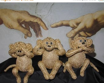 50% OFF SALE Knitting Pattern Only digital pdf download- 3 Wise Monkeys toy animal pdf knitting pattern