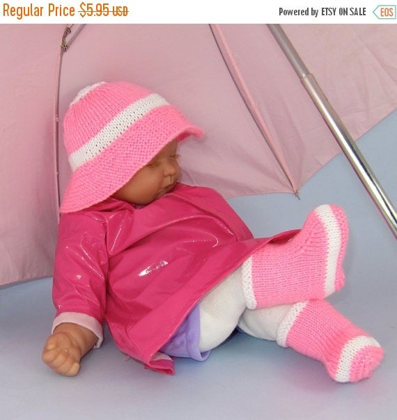 HALF PRICE SALE Instant Digital File Pdf Download knitting pattern -Baby Rain Boots (Booties) and Rain Hat  pdf knitting pattern