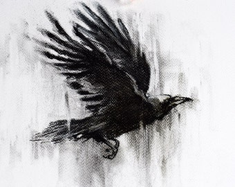 """Charcoal Drawing Flying Crow Black and White Original Art 12x8"""""""