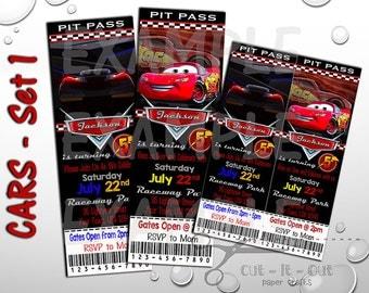 Cars 3 Birthday Invite, Disney Cars Invitation, Custom Birthday Invitation, Cars Party Invites, Cars 3 Pit Pass Invite