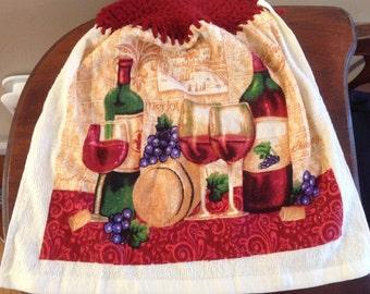 Cranberry Wine Hanging Kitchen Towel