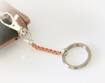Two-Tone Copper and Silver Keychain. Oval Keyring. Key Fob. Key Lanyard.