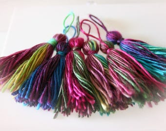 "Jewel Tone Yarn Tassels for DIY Crafts & Jewelry Making. Set of Six Multi-Color ""Stained Glass"""