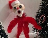 Vintage Style Holiday Christmas Folk Art Chenille Santa Feather Tree Ornament