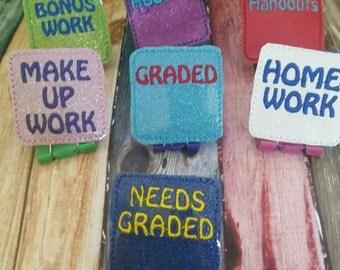 Teacher Binder Clips - Organization - Planner Clip - Gift for Teacher - Teacher Appreciation  - School - Classroom Supply - paper clip