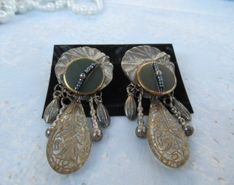 FREE SHIPPING Vintage Pierced Earrings Dangle Various Materials Used Silver and Gold Fun Exotic
