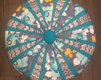 """ATRIUM Teal and Grey Floral Handmade Tuffet 18"""" Round - one of a kind - Ottoman - Foot Stool -  Modern Tuffet"""