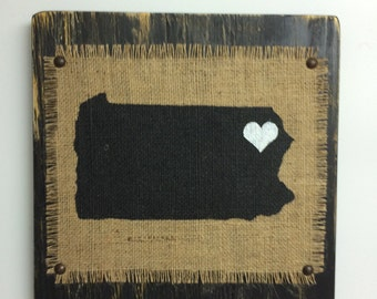 BURLAP IOWA state sign ready to hang, Black painted Iowa state sign, Burlap momogram and state sign, Distressed Black Painted Sign, Sign