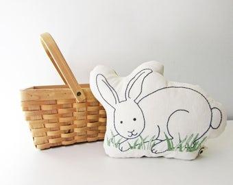 organic bunny pillow, easter bunny, bunny plush, shaped pillow, woodland decor
