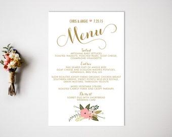 Wedding Menu  Reception  Vintage Wedding Decor  Wedding Reception Menu  Reception Menu Card  Wedding Menu Card