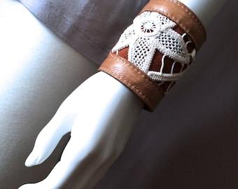 Wide leather cuff, vintage crochet doily and leather bracelet, handmade boho jewelry, gypsy bracelet, bohemian fashion, hippie bracelet cuff
