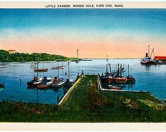Vintage Cape Cod Postcard - Little Harbor at Sunset, Woods Hole (Unused)