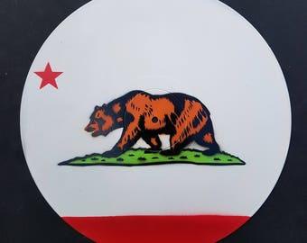 California Flag - Original Painting- Handmade California Bear Art on Vinyl Record by Mr Mizu