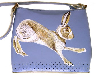 Run Hare, Run! purse - handpainted, robins egg blue Faux Leather Perforated mini shoulder bag. Emilie M - upcycled, OOAK