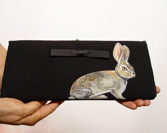 Come along, Rabbit! handpainted clutch - one of a kind, vintage black satin, vegan, upcycled, one of a kind