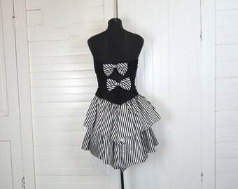 80s Masquerade Party Dress- Black & White Stripes- Strapless- 1980s Punk