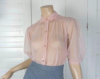 50s Sheer Pink Blouse- 1950s Peter Pan Collar- Nylon- Puffy Sleeves