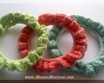 Crochet Bracelet Pattern For Beginner, Crochet Bangle Pattern, Frilly Stacking Bangle, Crochet Jewelery Patterns, DIY Bracelets Bangles