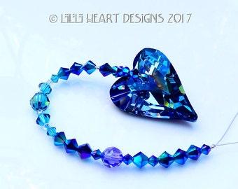 m/w Swarovski Crystal Limited Edition Very Rare Aquamarine Wild Heart Suncatcher Special Vitrail Medium Coating Ornament Lilli Heart Designs