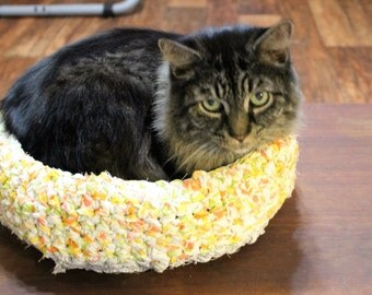 "The ""Sassy,"" NEW Medium Cat Bed, Small Dog Bed, Hand Crocheted From Upcycled Bed Sheets"