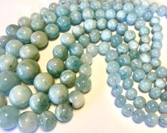 "Aquamarine graduated size round beads full 18"" strand lovely color"
