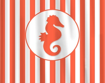 Custom Monogram Seahorse Shower Curtain - stripes with large Seahorse, Can Add Your initials - Specify your colors