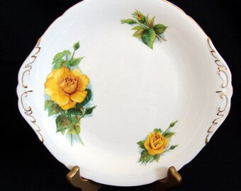 "Vintage Paragon ""Mme Ch Sauvage"" Cake Plate - Six World Famous Roses Series - Harry Wheatcroft"