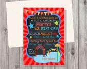 DIGITAL Chalkboard Style Water Park Splash Pad Red Style 2 Birthday Boy Invitation Printable