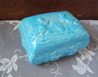 Sky Blue Porcelain Ceramic Trinket Box Cupids Signed D P.