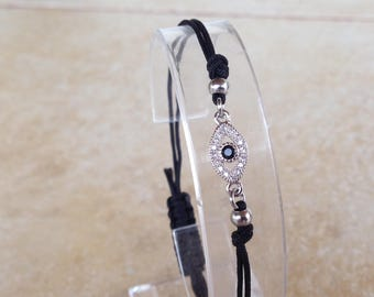 Evil eye  bracelet  -  zirconia  - rhodium silver plated - protection - Greek jewelry - Greek mati