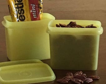 2 Shelf Saver Containers, Tupperware Shelf Savers, Yellow 3x5 Containers, Stackable Tupperware, Vintage Tupperware 1243 1244, Retro Kitchen