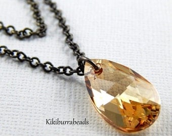 Christmas Sale crystal necklace, Swarovski Crystal Golden Shadow  Double Strand Necklace
