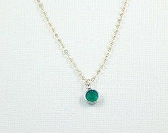 Birthstone Necklace,Dainty Swarovski Crystal Birthstone Choker Necklace,Petite Choker Necklace,Choose Your Birthstone