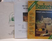 Basket making trio, Basketry book with patterns for 8 baskets,supply catalog,seagrass market basket