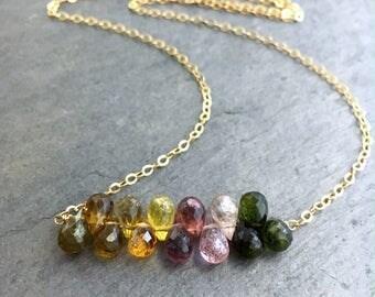 Rainbow Watermelon Tourmaline Gold Necklace. OOAK Watermelon Tourmaline 14k Gold Filled Chain Necklace.
