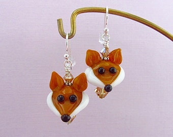 Fox Earrings - Handmade Lampwork Glass Bead Art SRA