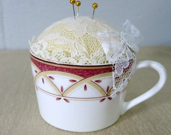 Teacup Pin Cushion, Repurposed Teacup - TCPC23