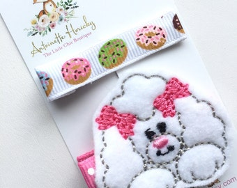 Embroidered Poodle and Donut Girls Hair Clips