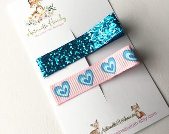Pink and Blue Girls Hair Clippies
