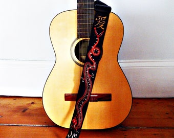Year of the Dragon Guitar Strap/Red Dragon/Chinese Characters Custom Strap/Monogram on Request