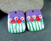 Purple Red White Green Enamel Earring Charms, Colorful Floral Enameled Copper Jewelry Componenets, Earrings Beads Sgraffito Rectangle Summer