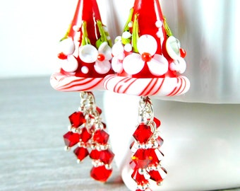 Christmas Floral Glass & Red Crystal Dangle Earrings, Fun Holiday Party Jewelry, Whimsical Lampwork, Red White Peppermint Flowers